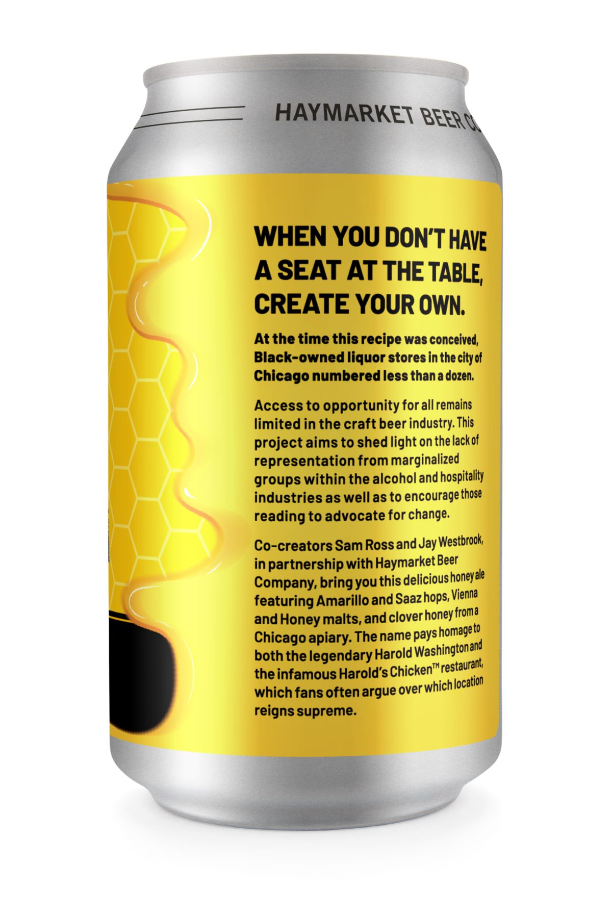 The back of the Harold's '83 Honey Ale beer can features an inspiring message.