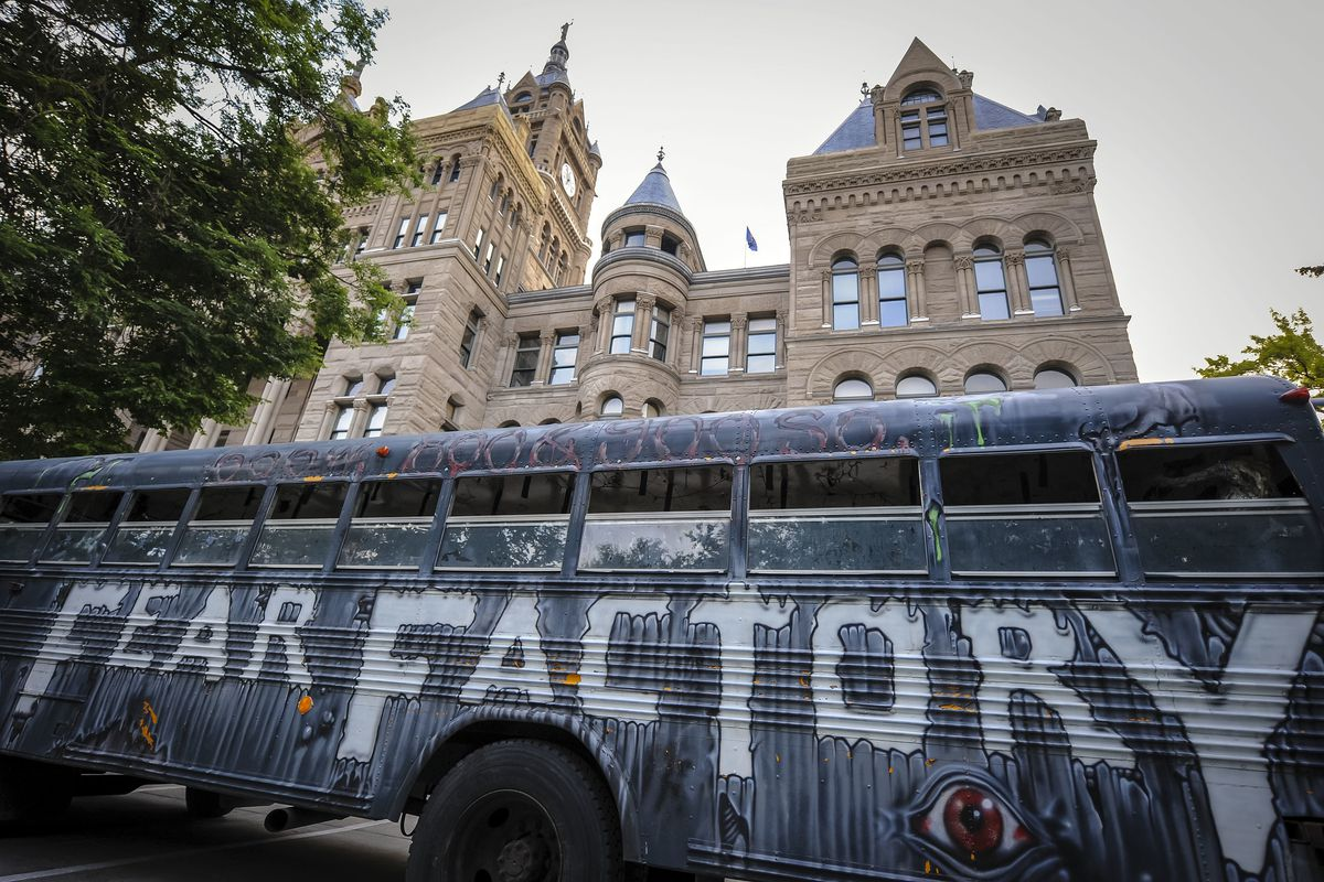 The Fear Factory Bus sits outside the Salt Lake City-County Building during Fear Factory's annual Zombie Walk on Sunday, Aug. 26, 2018.