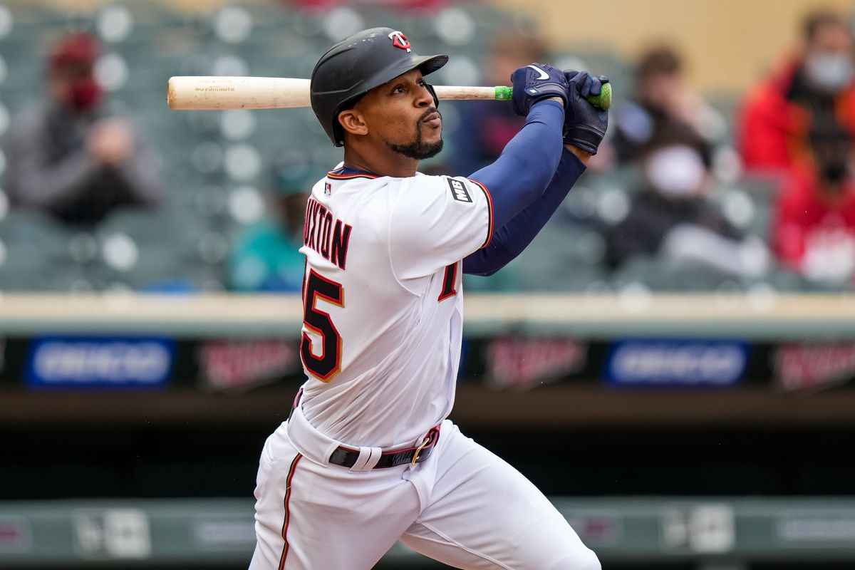 Byron Buxton #25 of the Minnesota Twins bats and hits a double against the Seattle Mariners on April 11, 2021 at Target Field in Minneapolis, Minnesota.