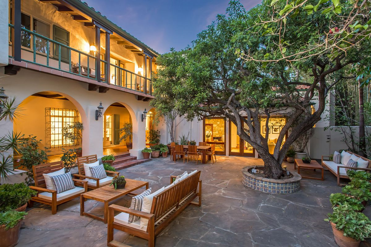 Outdoor courtyard in the evening