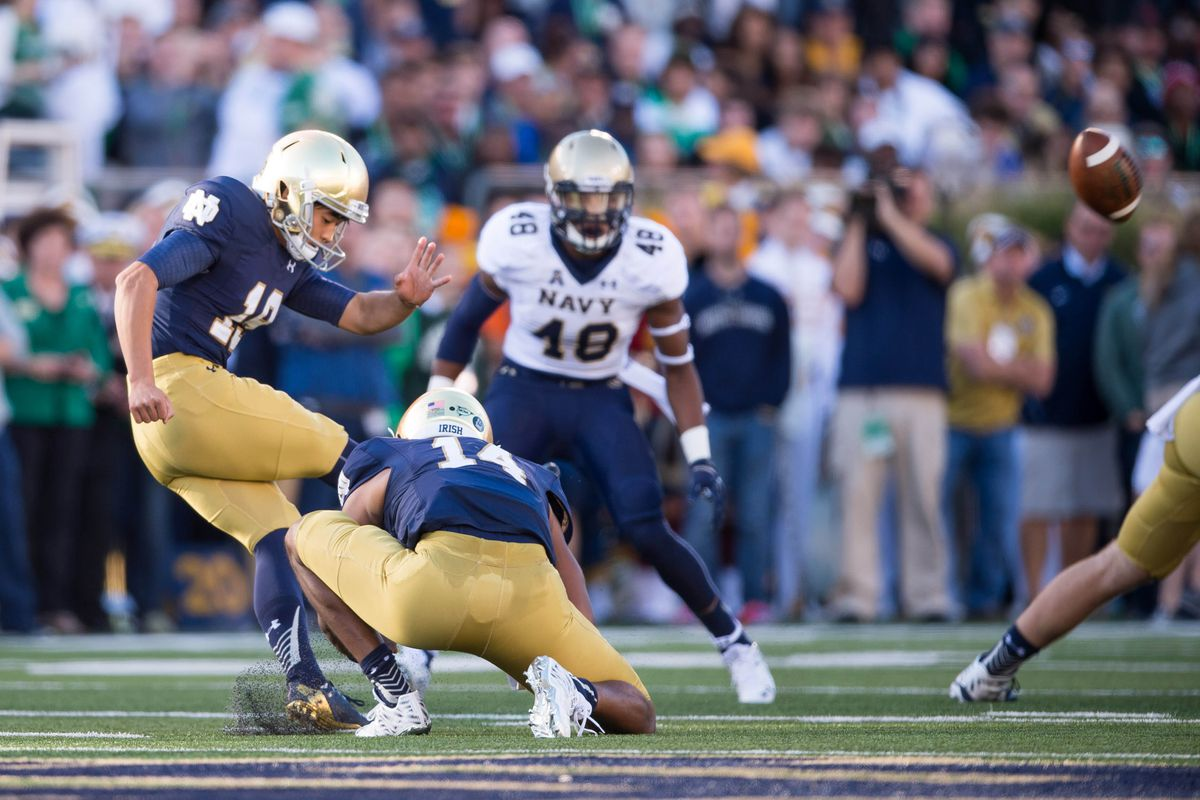 Justin Yoon boots a career-best 52-yard field goal right before halftime vs. Navy.