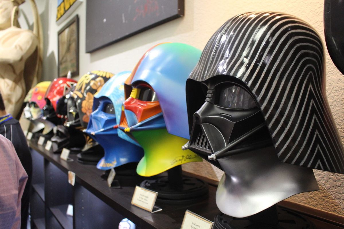 """Officially licensed Darth Vader helmets by artists — and one helmet worn on screen for """"Return of the Jedi"""" — will be among the memorabilia featured at the Rancho Obi-Wan exhibit at Star Wars Celebration Chicago. 