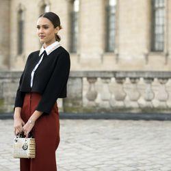 Jessica Alba outside of the Dior show.