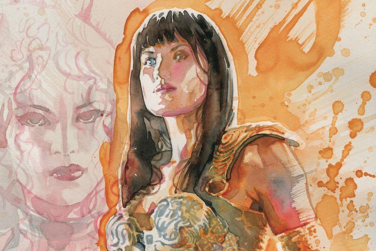 A watercolor-style Xena Warrior Princess