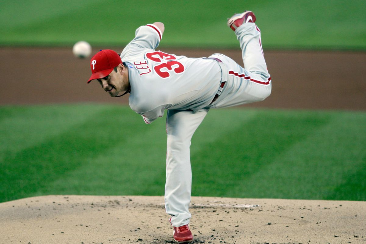 WASHINGTON, DC - APRIL 14:  Starting pitcher Cliff Lee #33 of the Philadelphia Phillies delivers to a Washington Nationals batter during the first inning at Nationals Park on April 14, 2011 in Washington, DC.  (Photo by Rob Carr/Getty Images)