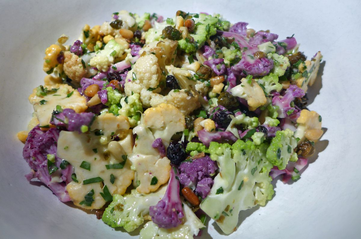 Shaved cauliflower salad with anchovy vinaigrette at Fausto