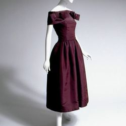 Christian Dior, cocktail ensemble in aubergine silk faille, 1953-1954, France. The Museum at FIT.