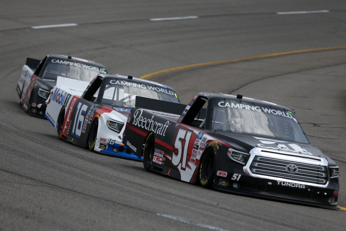 Kyle Busch, driver of the #51 Cessna Toyota, leads the field during the NASCAR Camping World Truck Series ToyotaCare 250 at Richmond Raceway on April 17, 2021 in Richmond, Virginia.