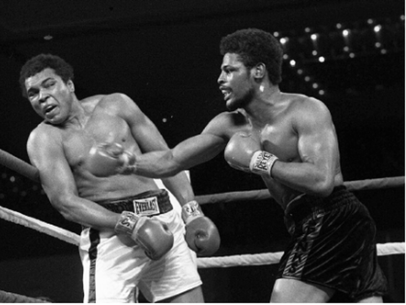 Leon Spinks lands a right hook against Muhammad Ali during their first fight for the world heavyweight title in 1978 in Las Vegas. Spinks won the title in his eighth pro fight.