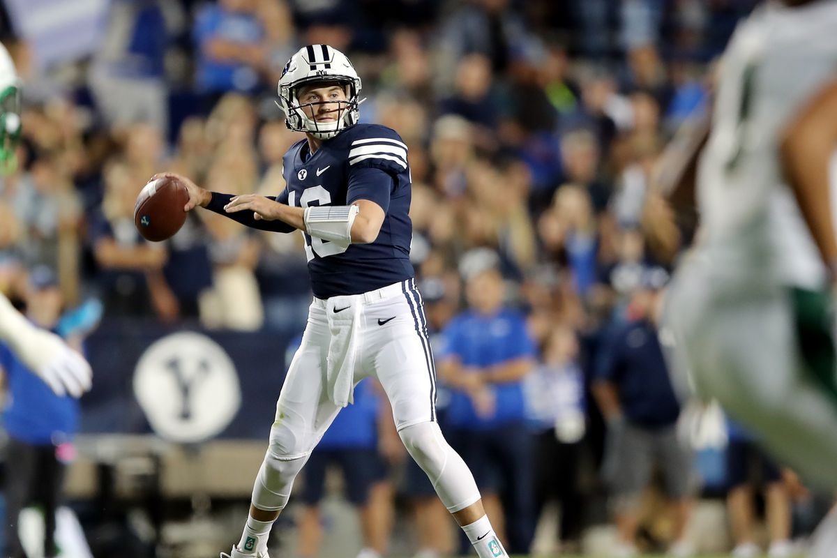 BYU quarterback Baylor Romney looks to make a throw as BYU and South Florida play at LaVell Edwards Stadium in Provo.