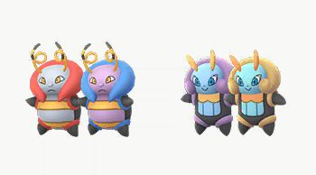 Shiny Volbeat and Illumise's in-game models. Volbeat turns from red to purple and blue, and Illumise turns from purple and blue to gold.