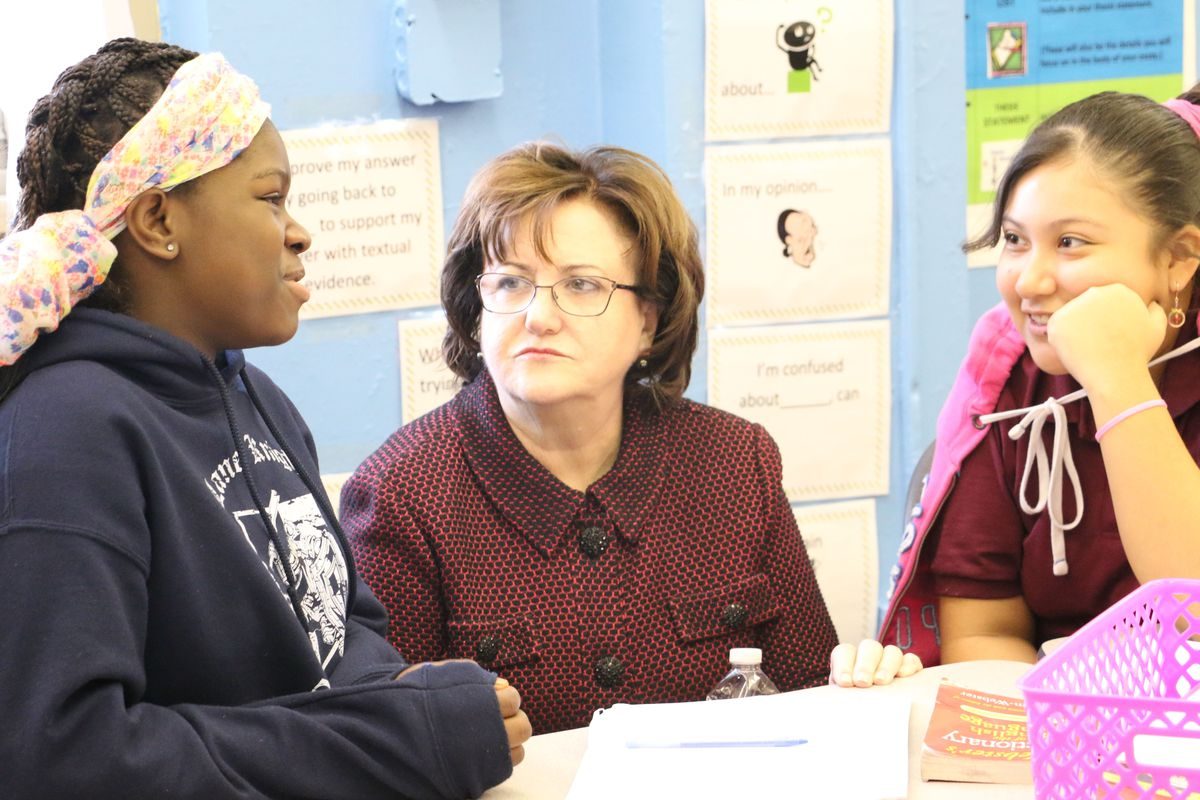 State Education Commissioner MaryEllen Elia visited the School of Diplomacy in the Bronx in 2015.