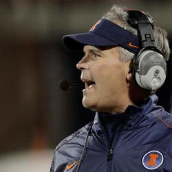 Illinois coach Tim Beckman watches from the sidelines during the first half of an NCAA college football game against Louisiana Tech on Saturday, Sept. 22, 2012, in Champaign, Ill. Louisiana Tech defeated Illinois 52-24.