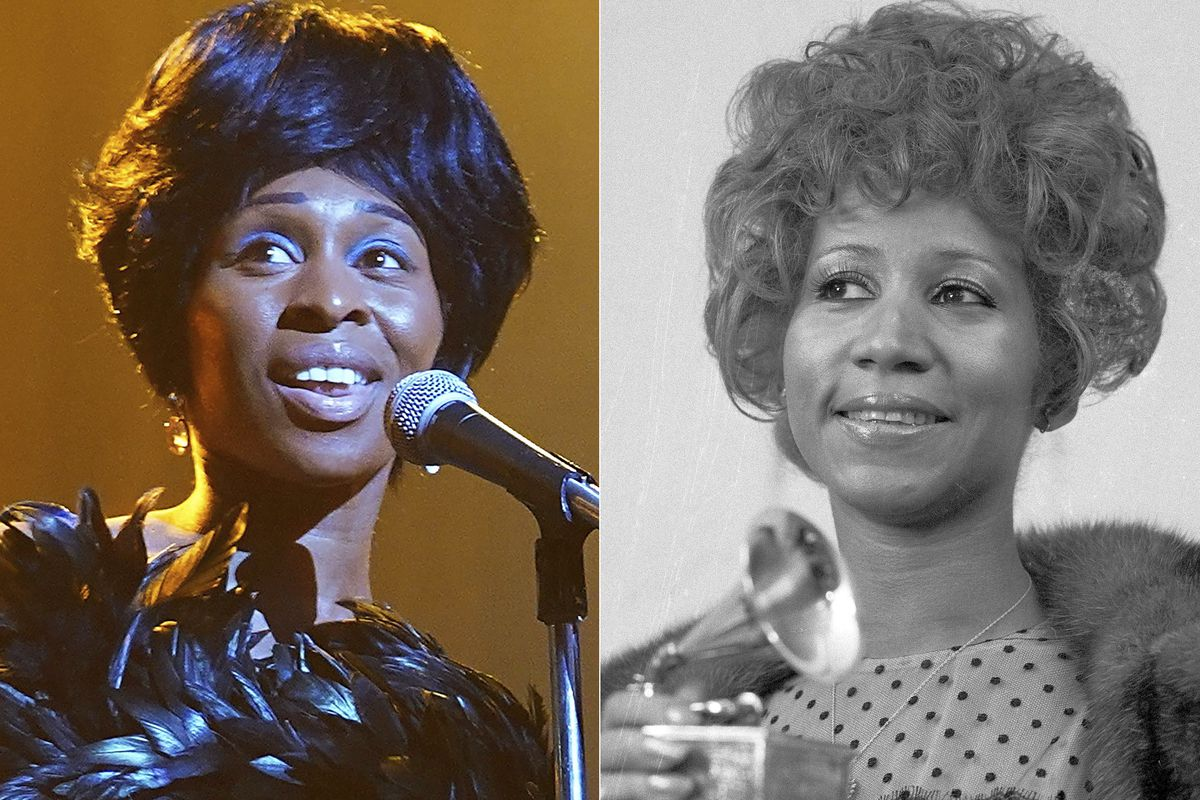 """Actress Cynthia Erivo (left) portrays Aretha Franklin in the National Geographic miniseries """"Genius: Aretha,"""" and Aretha Franklin holds her Grammy Award for best R&B performance of the song """"Bridge Over Troubled Waters,"""" in New York on March 13, 1972."""