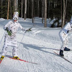 In this April 1, 2012, photo, two members of the Ladies of Leisure group, dressed as birch trees, make their way up the final hill of the Birch Hill Recreation Area ski trail at the Ski for Women event in Fairbanks, Alaska.