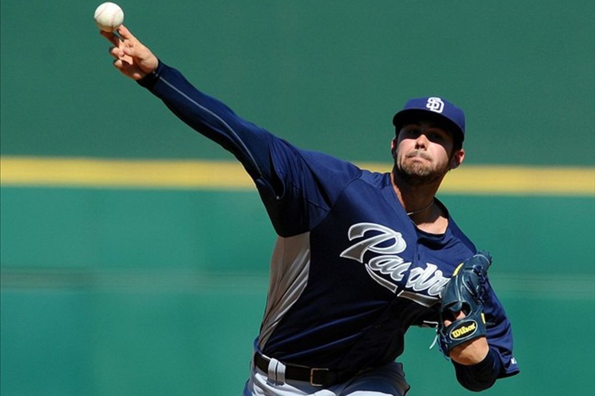 Mar 14, 2012; Goodyear, AZ, USA; San Diego Padres pitcher Casey Kelly (68) throws during the fourth inning against the Cincinnati Reds at Goodyear Ballpark. Mandatory Credit: Christopher Hanewinckel-US PRESSWIRE