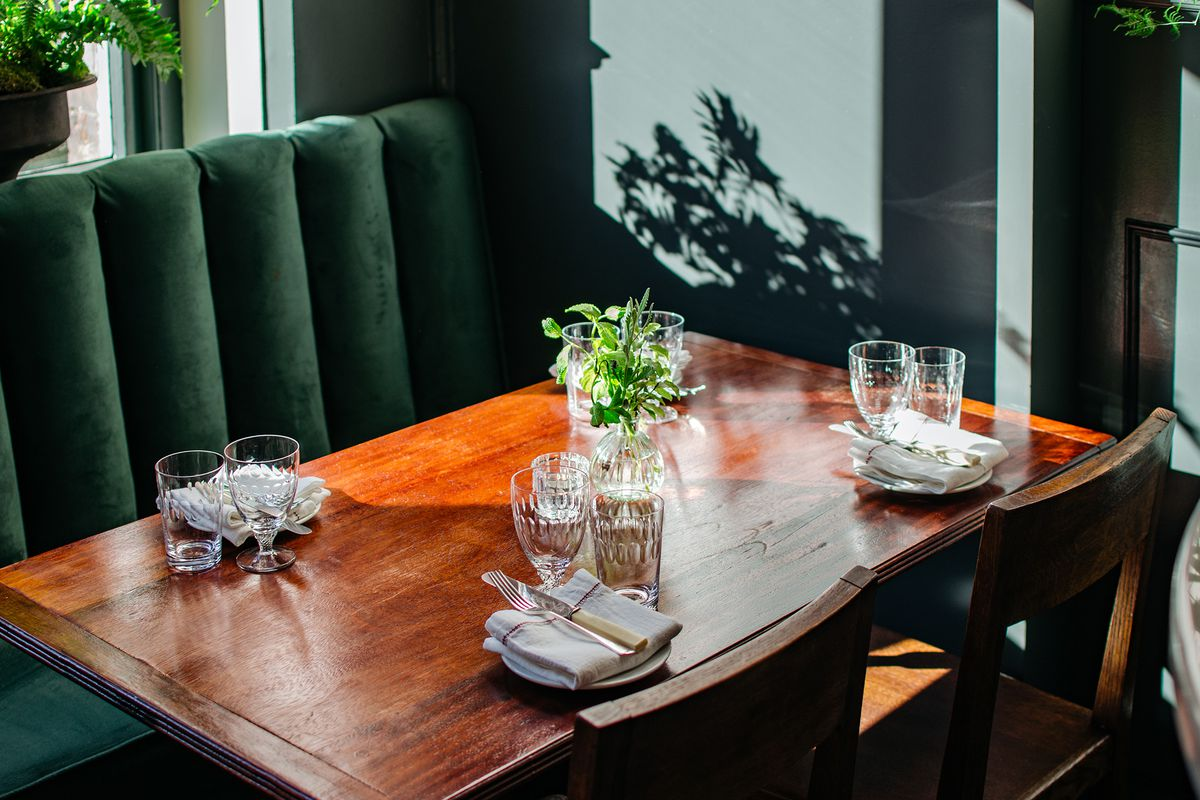 Table-setting at Cora Pearl, a new London restaurant in Covent Garden
