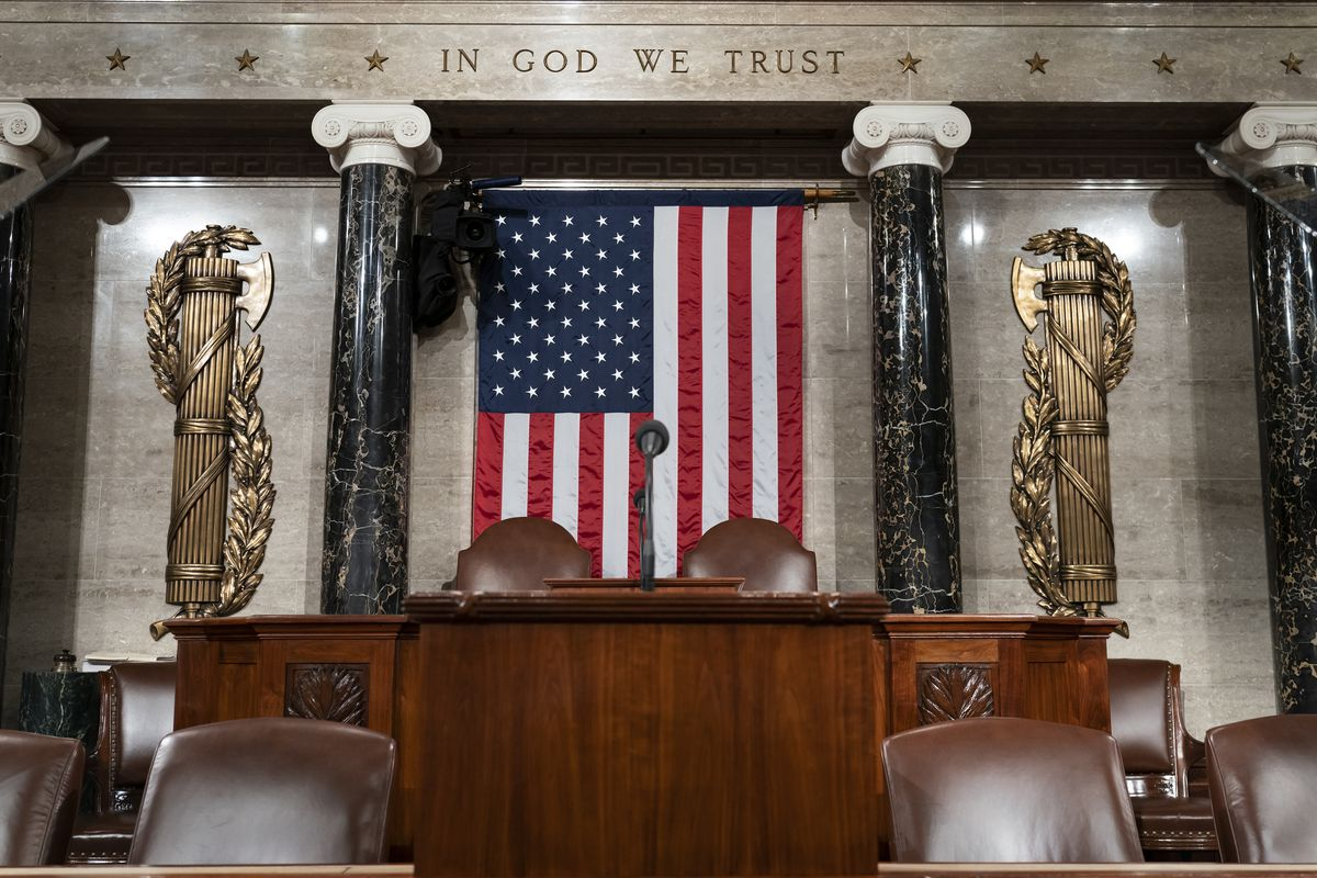 aThe chamber of the House of Representatives is seen at the Capitol in Washington, Monday, Feb. 3, 2020, as it is prepared for President Donald Trump to give his State of the Union address Tuesday night. (AP Photo/J. Scott Applewhite)
