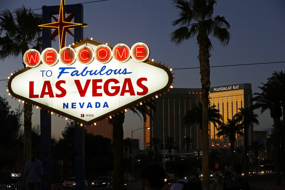 The famous Fabulous Las Vegas sign with the Mandalay Bay Resort in the background