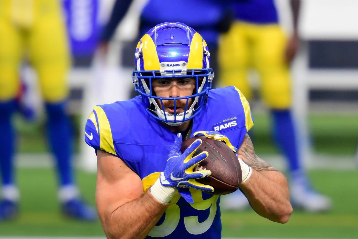 Tyler Higbee of the Los Angeles Rams makes a catch for a first down during a 17-9 win over the New York Giants at SoFi Stadium on October 04, 2020 in Inglewood, California.