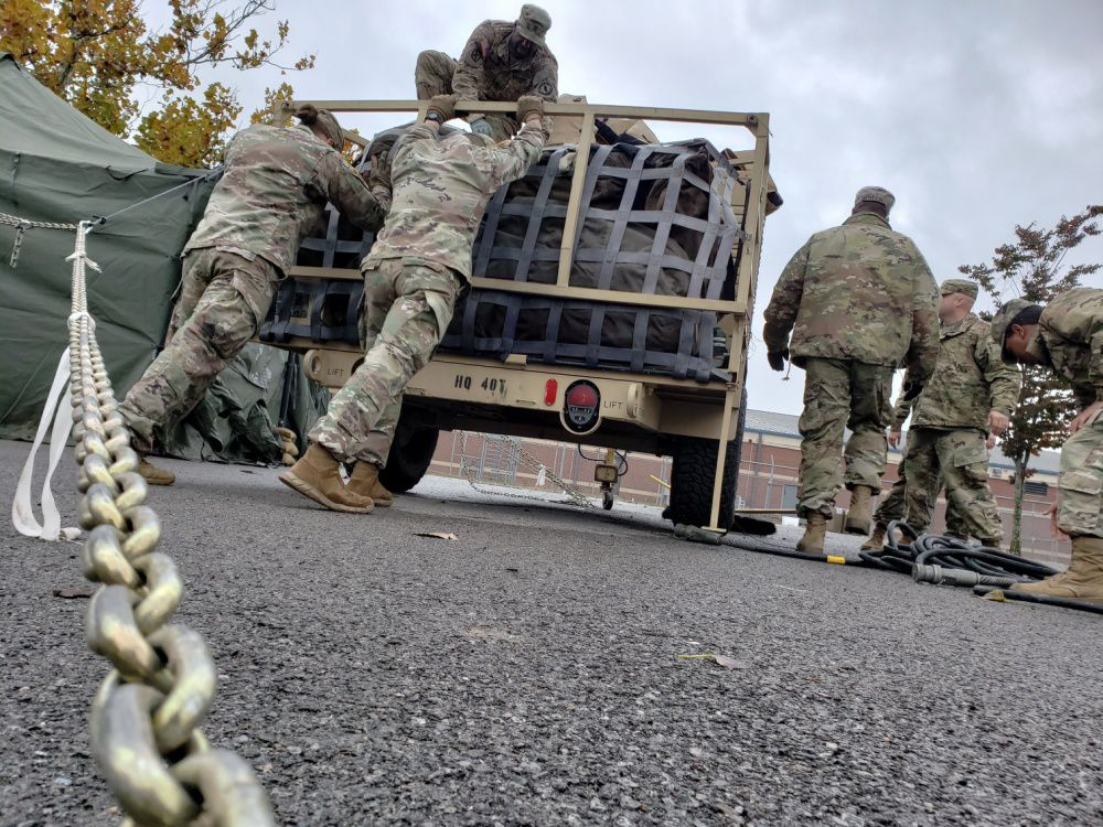 US troops prepare to deploy to the US-Mexico border on October 27, 2018.