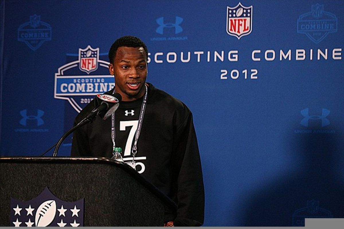 Feb 24, 2012; Indianapolis, IN, USA; Oklahoma Sooners wide receiver Ryan Broyles speaks at a press conference during the NFL Combine at Lucas Oil Stadium. Mandatory Credit: Brian Spurlock-US PRESSWIRE