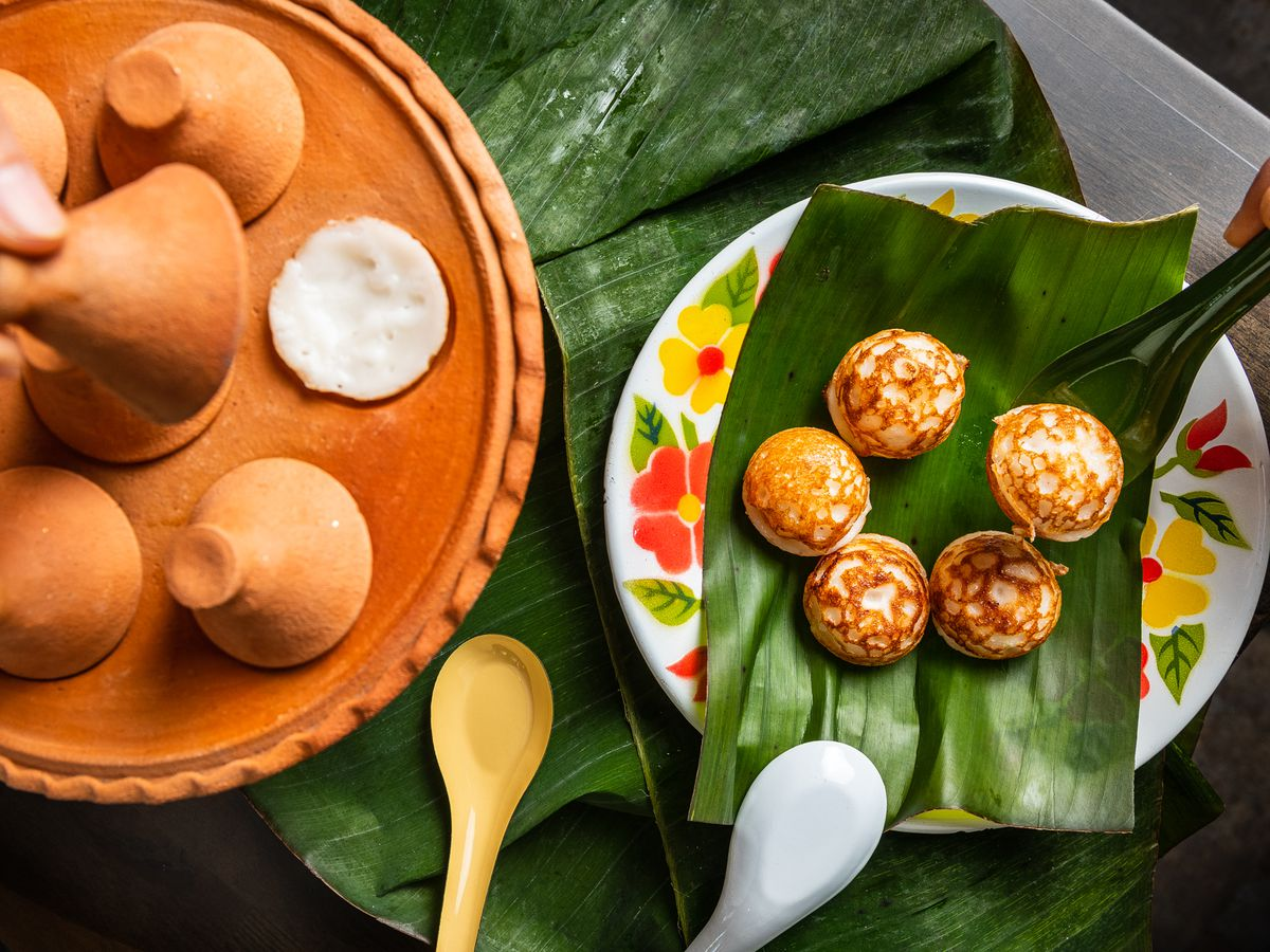 Kanom krok, or coconut milk and rice flour pancakes, at Baan Siam are tough to make because they scorch easily