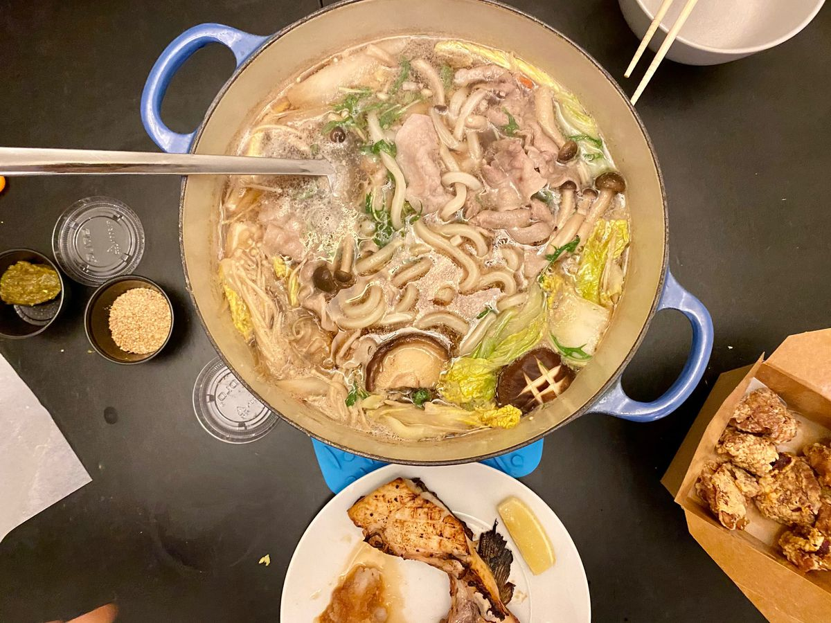 Chanko nabe (Japanese hot pot) in a blue Le Creuset pot