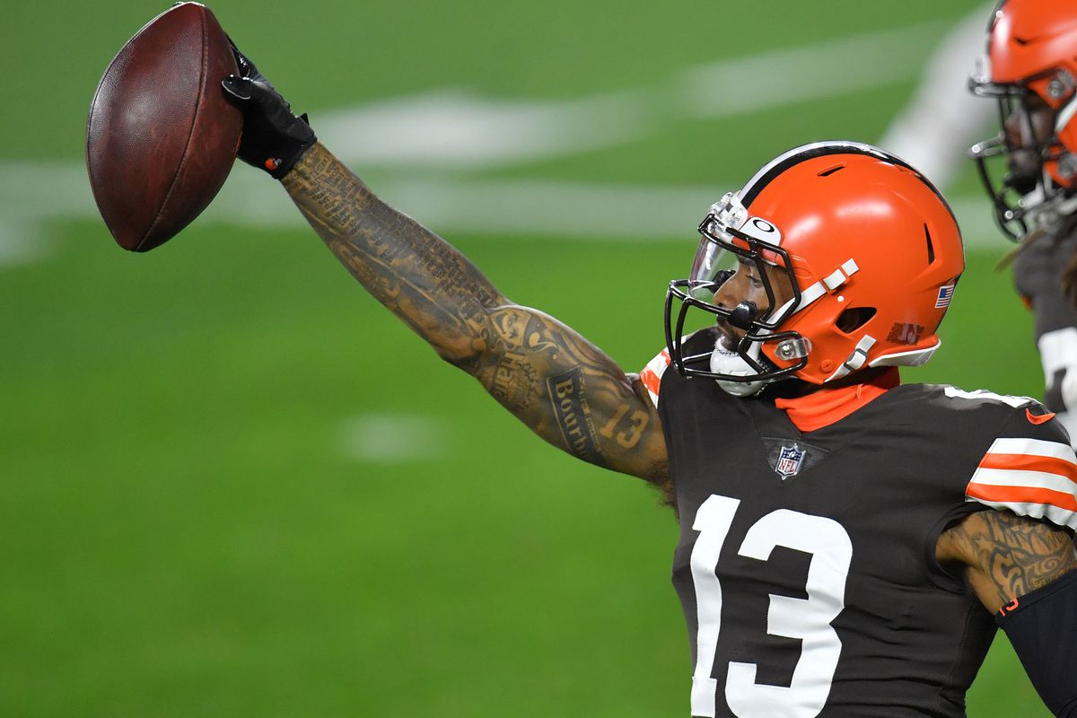 Odell Beckham Jr. #13 of the Cleveland Browns celebrates a touchdown against the Cincinnati Bengals during the first half at FirstEnergy Stadium on September 17, 2020 in Cleveland, Ohio.