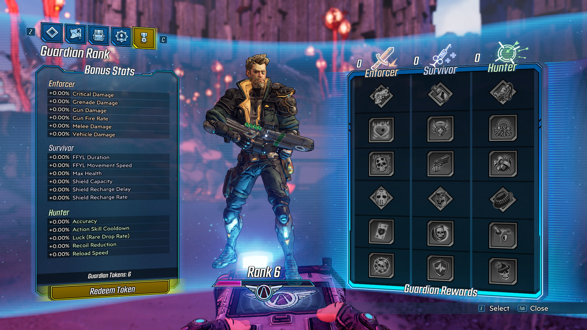 An in-game menu screen shows a Borderlands 3 character along with several stats that can be upgraded at the cost of Guardian Tokens