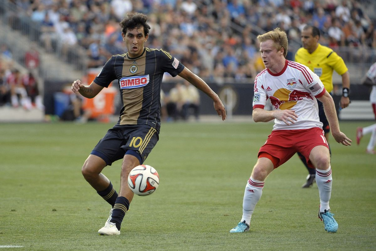 Philadelphia's Cristian Maidana will be watched closely by fantasy managers, though perhaps not as closely as Dax McCarty is watching in this photo.
