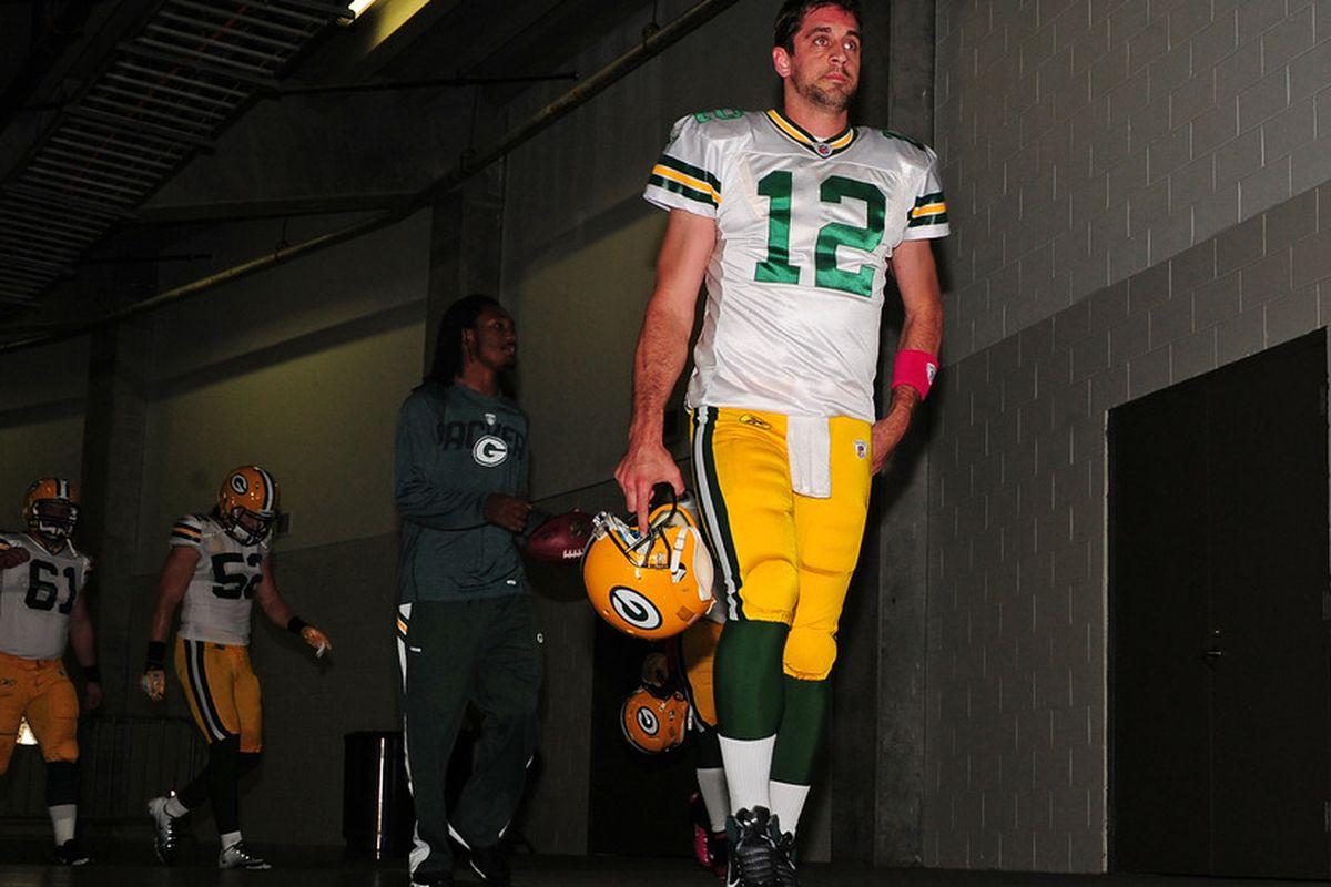 ATLANTA, GA - OCTOBER 9: Aaron Rodgers #12 of the Green Bay Packers heads to the field for the game against the Atlanta Falcons at the Georgia Dome on October 9, 2011 in Atlanta, Georgia. (Photo by Scott Cunningham/Getty Images)