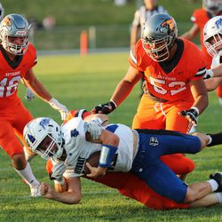 Fremont and Skyridge compete in a high school football game at Skyridge in Lehi on Thursday, Aug. 12, 2021.