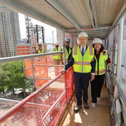 President Russell M. Nelson, president of The Church of Jesus Christ of Latter-day Saints, and his wife Sister Wendy Nelson tour the renovation work at the Salt Lake Temple in Salt Lake City on Saturday, May 22, 2021.