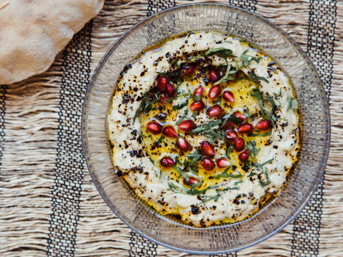 baba ganoush with pomegranate seeds