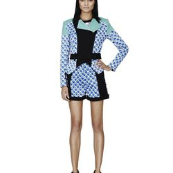 Moto Jacket in Blue Netting Print, $59.99**; Cropped Sweater in White/Blue Print, $29.99**; Short in Blue Netting Print, $29.99**