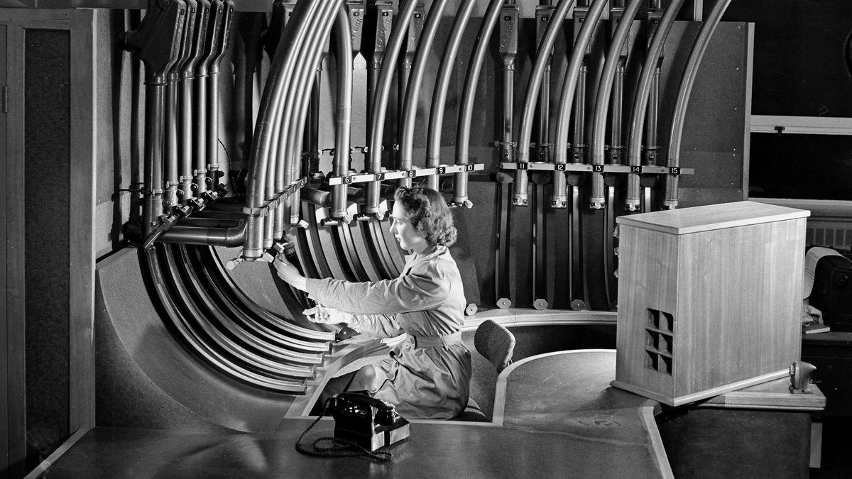 Pneumatic tubes at a typewriter factory, circa 1954.