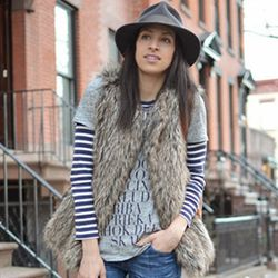"""SF blogger Carlina Harris wears her Goorin Brothers fedora hat on a recent trip to NYC; photo via <a href=""""http://www.allergictovanilla.com/2014/01/the-big-apple.html"""">Allergic to Vanilla</a>"""