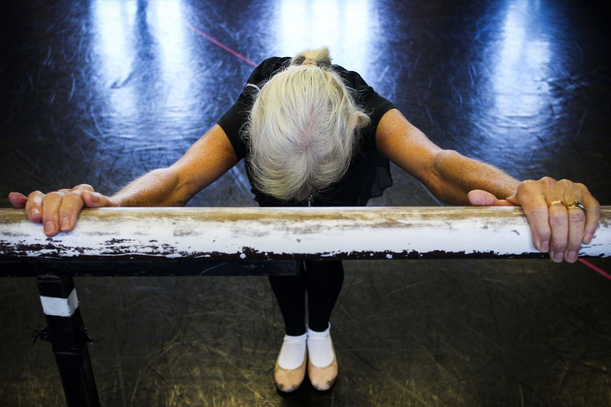 May 6: A member of the intermediate seniors ballet class at the Queensland Ballet dance studios in Brisbane, Australia. A study by Queensland Ballet and the Queensland University of Technology (QUT) released in April found that ballet helped older Austral
