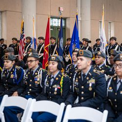 JROTC Chicago Public Schools Cadets during the Veteran's Day ceremony at Soldier Field on Monday, Nov. 11, 2019.