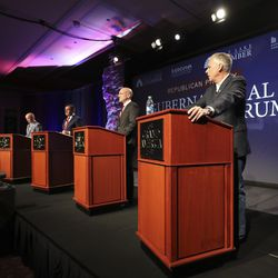 Lt. Gov. Spencer Cox, left, former Utah House Speaker Greg Hughes, former Utah GOP Chairman Thomas Wright and former Gov. Jon Huntsman Jr. answer questions during a virtual forum featuring the Republican primary gubernatorial candidates at the Grand America Hotel in Salt Lake City on Thursday, May 7, 2020.