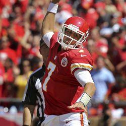 Kansas City Chiefs quarterback Matt Cassel (7) celebrates his touchdown during the first half of an NFL football game against the Atlanta Falcons at Arrowhead Stadium in Kansas City, Mo., Sunday, Sept. 9, 2012.
