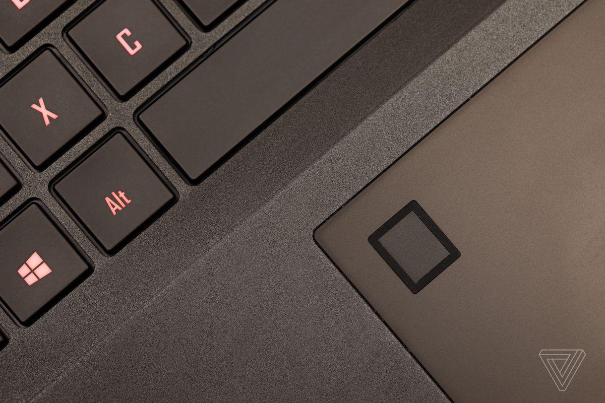 The Gigabyte Aero 15 fingerprint sensor.