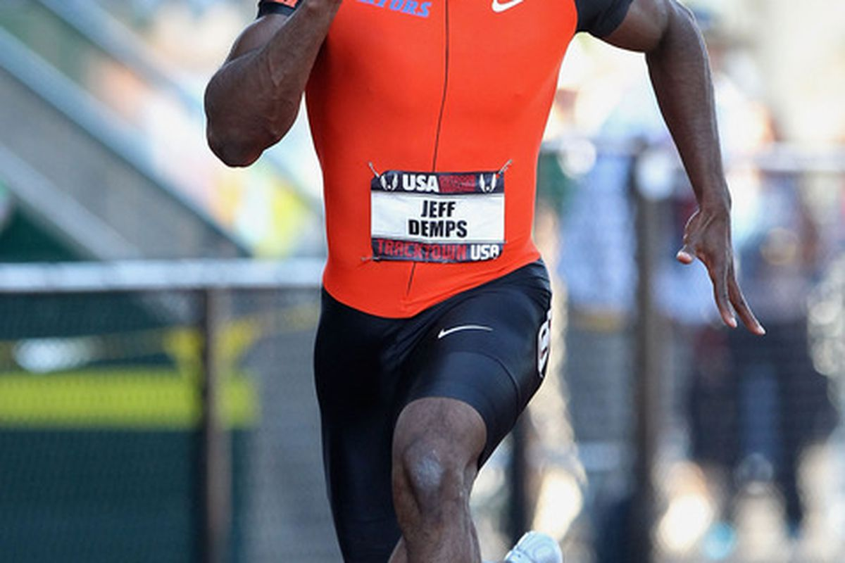 EUGENE, OR - JUNE 24:  Jeff Demps competes in the Men's 100 meter dash semi final on day two of the USA Outdoor Track & Field Championships at the Hayward Field on June 24, 2011 in Eugene, Oregon.  (Photo by Christian Petersen/Getty Images)