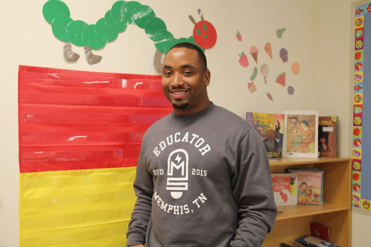 Andrew Fields, one of the Relay resident teachers at Memphis Scholars, is in his first year of teaching.