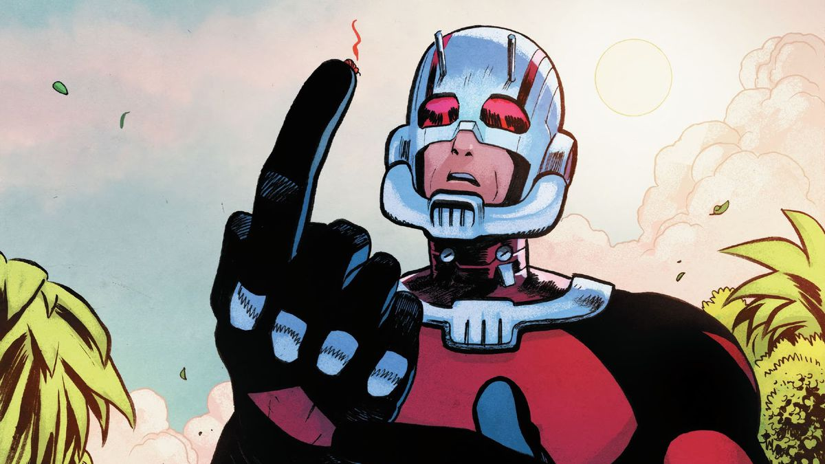 Pam the ant expires on the tip of Ant-Man's finger in Ant-Man #4, Marvel Comics (2020).