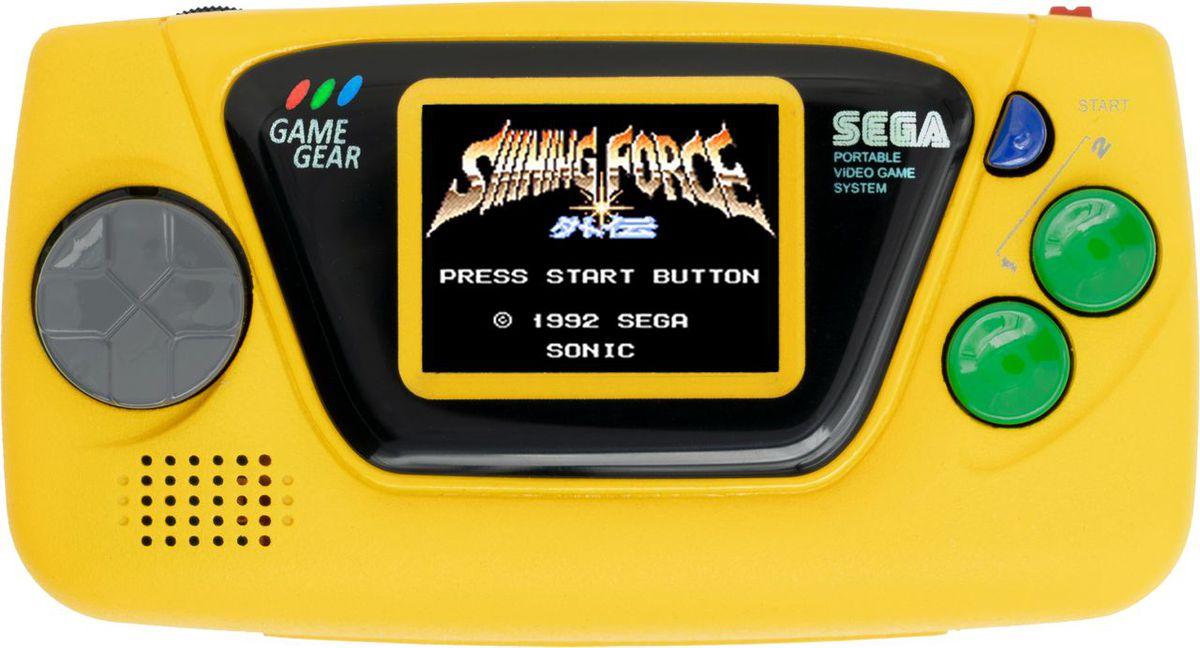 The yellow Sega Game Gear Micro