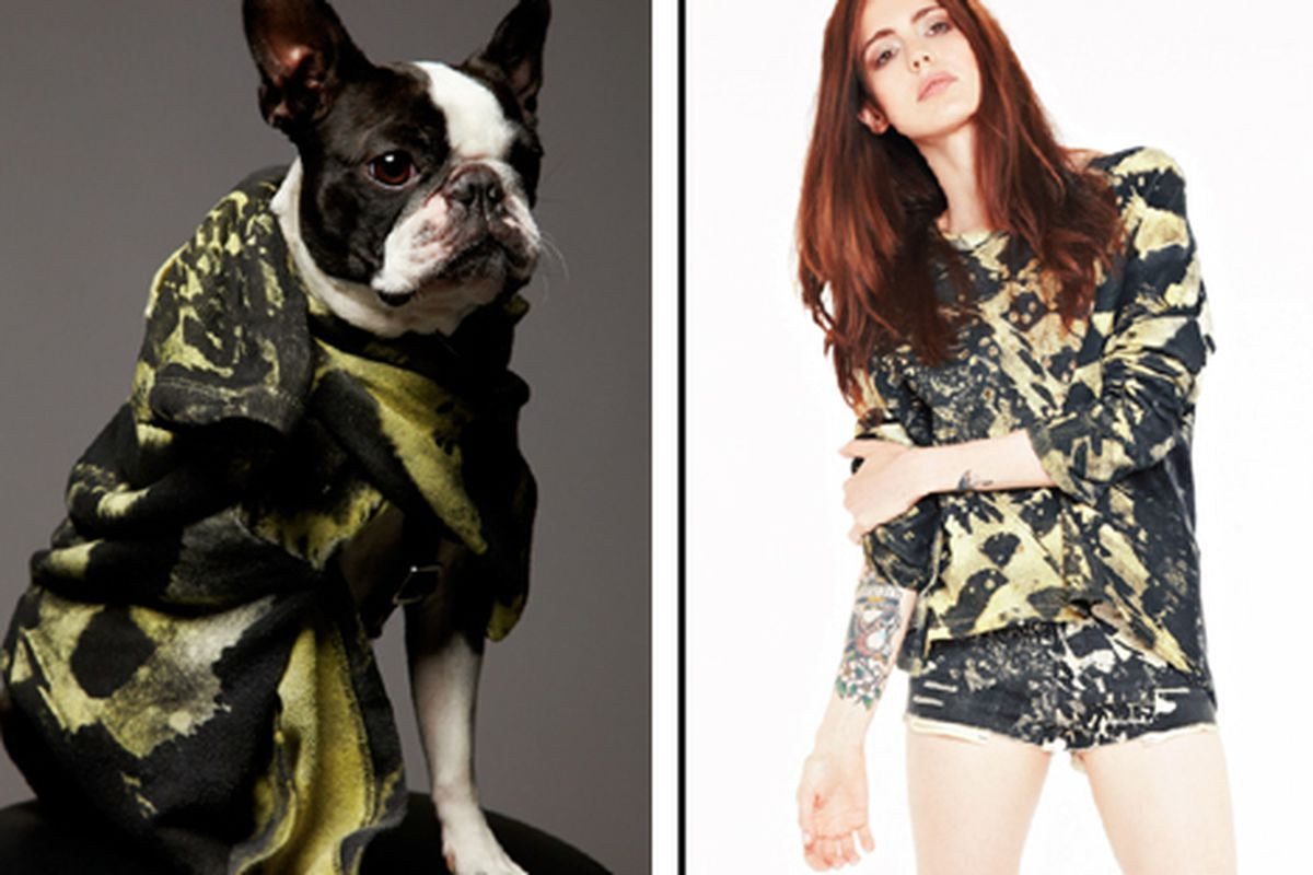 Images from Religion's S/S 2013 lookbook, illustrating how the same sweatshirt can be worn by dog or girl.