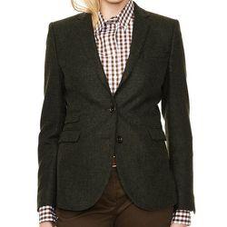 "<b>Gant</b> Lambswool Blazer, <a href=""http://us.gant.com/lambswool-blazer-dark-khaki"">$495</a>"