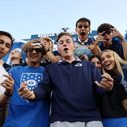 BYU students cheer as they prepare to watch BYU and USF play a college football game at LaVell Edwards Stadium in Provo on Saturday, Sept. 25, 2021.